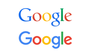 Two-up Google logos, before and after the 2015 rebrand. The first is a well-shaped serif font and the second is a geometric, single-stroke-weight sans-serif.